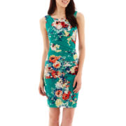 Bisou Bisou® Sleeveless Floral Print Side-Ruched Sheath Dress