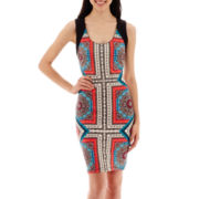 Bisou Bisou® Sleeveless Scuba-Knit Scarf-Print Sheath Dress