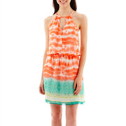 Bisou Bisou® Sleeveless Tie-Dyed Halter Blouson Dress