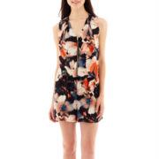 19 Cooper Sleeveless Zip-Front Floral Print Romper