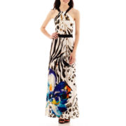 Bisou Bisou® Halter-Neck Print Maxi Dress