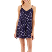 Bee Darlin Sleeveless Polka Dot Chiffon Crochet-Trim Slip Dress