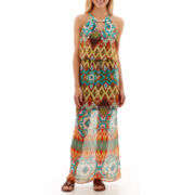 City Triangles® Sleeveless Metallic-Trim Batik Chiffon Maxi Dress
