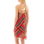 City Triangles® Sleeveless Batik Hardware-Back Slip Dress