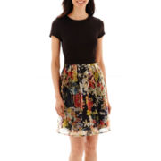 J. Taylor Short-Sleeve Scuba Knit and Organza Print Fit-and-Flare Dress