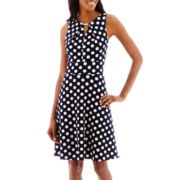 DR Collection Sleeveless Dot Print Fit-and-Flare Dress