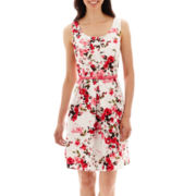 Tiana B. Sleeveless Floral Belted Fit-and-Flare Dress