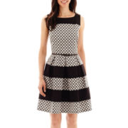 Tiana B. Sleeveless Geo Print Colorblock Fit-and-Flare Dress
