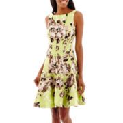 Danny & Nicole® Sleeveless Floral Print Shantung Fit-and-Flare Dress