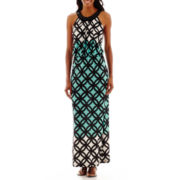 R&K Originals® Sleeveless Embellished-Neck Blouson Maxi Dress