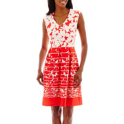Studio 1® Sleeveless V-Neck Floral Fit-and-Flare Dress