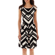 Tiana B. Cap-Sleeve Textured Geo Print Fit-and-Flare Dress