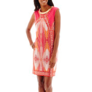 Studio 1® Sleeveless Shift Dress with Beaded Neckline