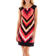 London Style Collection Cap-Sleeve Chevron Print Sheath Dress