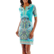 Studio 1® Elbow-Sleeve Paisley Print Sheath Dress