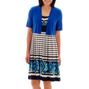 R&M Richards Mixed-Stripe Jacket Dress - Petite