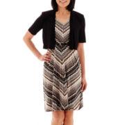 R&M Richards Chevron Print Belted Jacket Dress - Petite