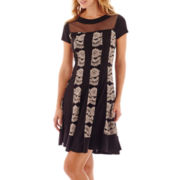 R&M Richards Short-Sleeve Floral Lace Pieced Fit-and-Flare Dress - Petite