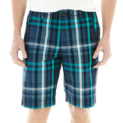 Arizona Classic Plaid Flat-Front Shorts