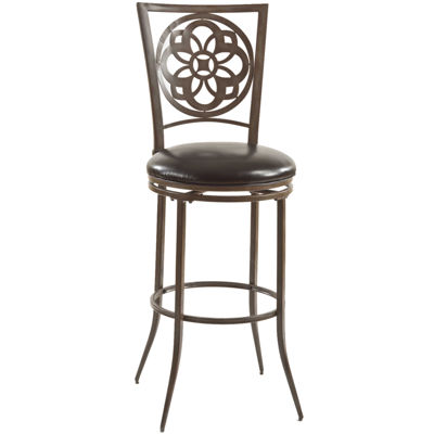 Fairfield Faux-Leather Swivel Barstool
