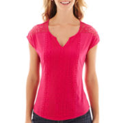 Liz Claiborne® Sleeveless Split-Neck Mixed-Lace Knit T-Shirt