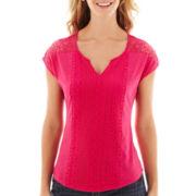 Liz Claiborne® Sleeveless Split-Neck Mixed-Lace Knit T-Shirt