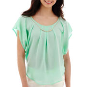 by&by Flutter-Sleeve Crepe Necklace Top