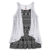 Knit Works Sleeveless Ruffle Cozy with Tank Top - Girls 7-16 and Plus