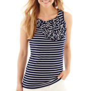 Liz Claiborne® Rosette Striped Tank Top