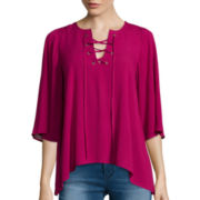 Decree® Bell-Sleeve Lace-Up Top