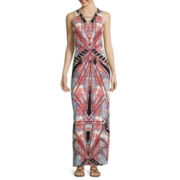 a.n.a® Sleeveless Printed Lace-Up Maxi Dress