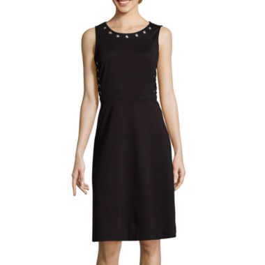 jcpenney.com | Worthington® Sleeveless Lace Up Fit and Flare Dress