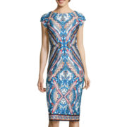 Worthington® Cap-Sleeve Print Scuba Dress