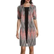 Perceptions Elbow-Sleeve Chevron Mock Jacket Dress