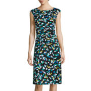 Perceptions Sleeveless Motif Leaf-Printed Fit-and-Flare Dress