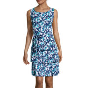 Perceptions Sleeveless Abstract Floral Tiered Fit-and-Flare Dress
