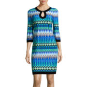 Studio 1® 3/4-Sleeve Keyhole Chevron Shift Dress