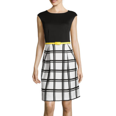 jcpenney.com | Studio 1® Cap-Sleeve Solid-Top Belted Fit-and-Flare Dress