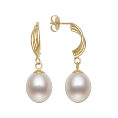 jcpenney.com | Cultured Freshwater Pearl 10K Yellow Gold Swirl Earrings