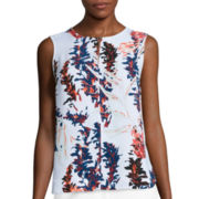 Liz Claiborne® Sleeveless Printed Blouse