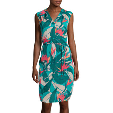jcpenney.com | Liz Claiborne® Sleeveless V-Neck Tropical Dress