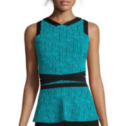 Worthington® Sleeveless Mesh-Inset Peplum Top