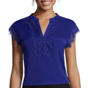 Worthington® Sleeveless Lace Trim Y-Neck Blouse