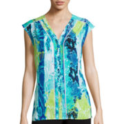 Worthington® Sleeveless Button-Down Top
