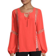 Worthington® Long-Sleeve Boho Peasant Blouse