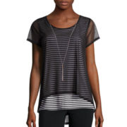 Alyx® Short-Sleeve Mesh Overlay Top