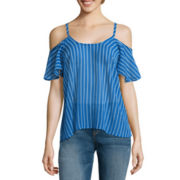 I 'Heart' Ronson® Short-Sleeve Cold-Shoulder Stripe Chiffon Top
