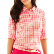 jcp™ Button-Front Voile Shirt