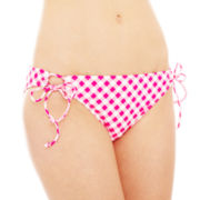 Arizona Check Print Adjustable Hipster Swim Bottoms - Juniors
