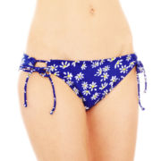 Arizona Daisy Print Adjustable Hipster Swim Bottoms - Juniors